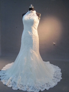 Glamorous High Collar Sleeveless Trumpet Lace Wedding Dresses