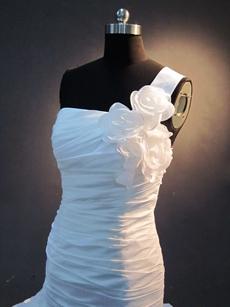 Modern One Shoulder Taffeta White Fishtail Wedding Dresses