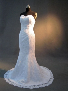 Gorgeous Sweetheart Mermaid Lace Wedding Dresses Brush Train