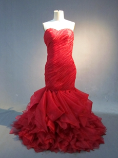 Elegan Dark Red Organza Mermaid Wedding Gowns