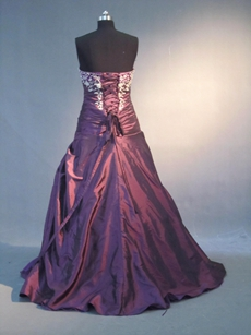 Fantastic Dark Purple Taffeta Sweetheart Wedding Guest Dress