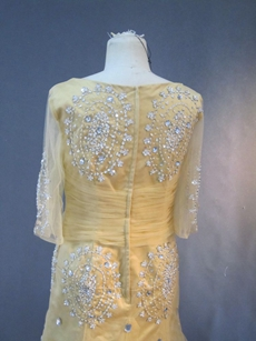 Modest Gold Mother Of The Bride Dresses With 1/2 Sleeves
