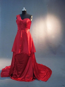 Unique One Shoulder Red Plus Size Evening Dress