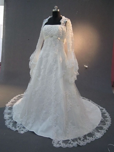 Romantic A-line Lace Wedding Dresses With Long Sleeves Jacket