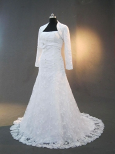 Classic A-line Lace Wedding Dresses With Long Sleeves Jacket