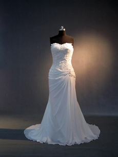 Romantic White Chiffon Causual Plus Size Wedding Dresses