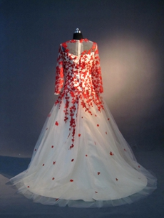 Modest Red and Ivory Long Prom Dress for Mother of Groom