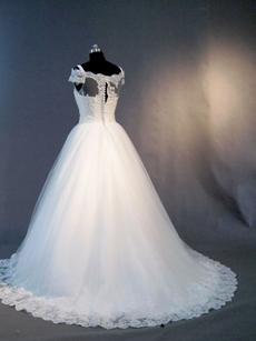 Pretty Off Shoulder Lace Short Sleeves Princess Wedding Dresses