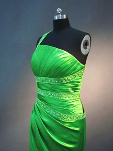 Sexy Green One Shoulder Crossed Straps Evening Dress