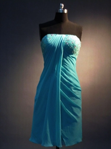 Lovely Strapless Blue Homecoming Dress