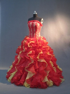 Luxurious Red and Gold Red Puffy Quinceanera Dresses