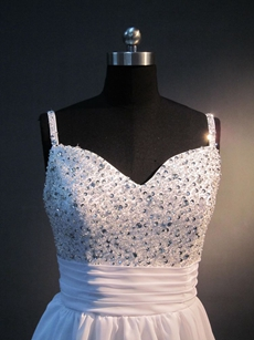 Spaghetti Straps White Chiffon A-line Mini Length Quinceanera Dress For Damas