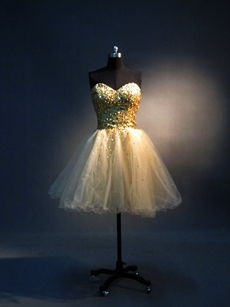 Sparkled Gold Tulle Sweetheart Puffy Sweet 16 Dresses
