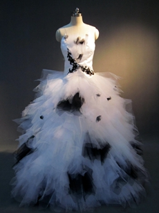 Unique Black and White Tulle Wedding Ball Gown