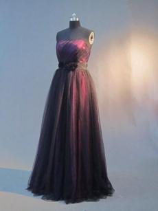 Elegant Black and Fuchsia Graduation Ball Gown Dresses With Sash