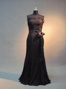 Elegant Strapless Black Lace Mother of Bride Dress