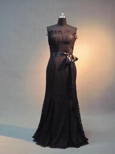 Elegant Strapless Black Lace Mother of Bride Dress