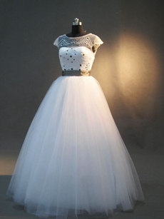Modest Illusion Princess Quinceanera Dresses with Cap Sleeves
