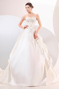 Ball Gown Satin Embroidery Wedding Dress