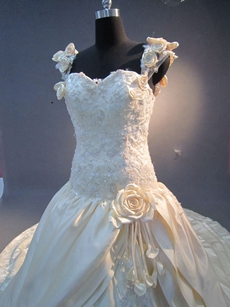 Luxury Satin Floral Princess Wedding Dresses With Lace Appliques