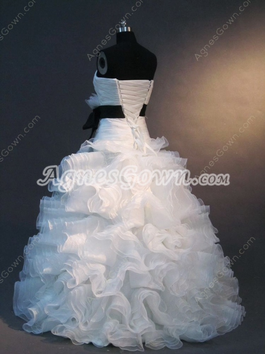 Beautiful White Strapless Princess Ball Gown Dresses With Dropped Waist