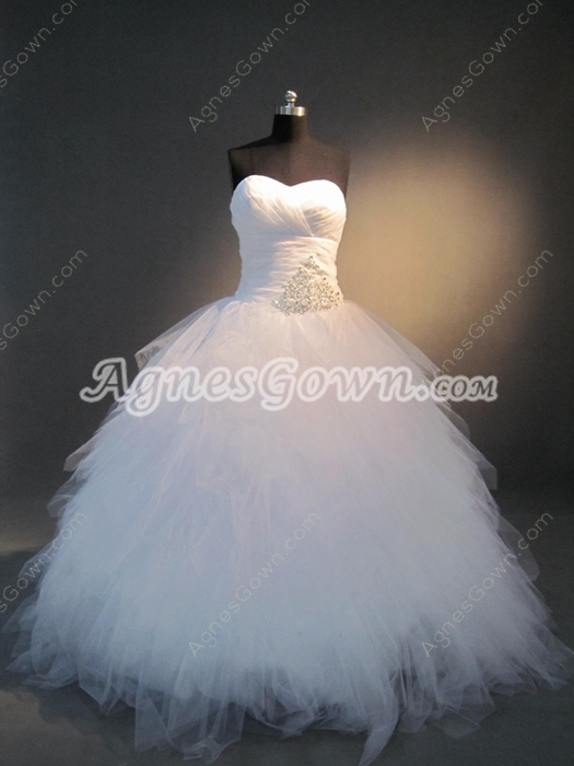 Exquisite White Sweetheart 2016 Princess Ball Gown Wedding Dresses
