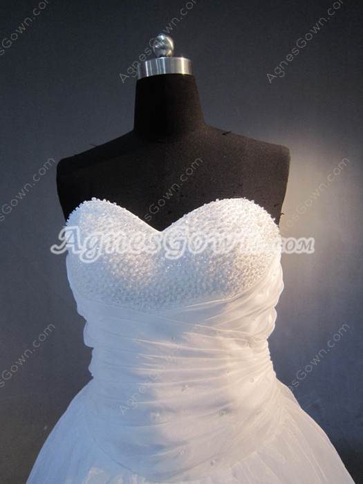 Simple Beaded White Organza Ball Gown Quinceanera Dresses Corset Back