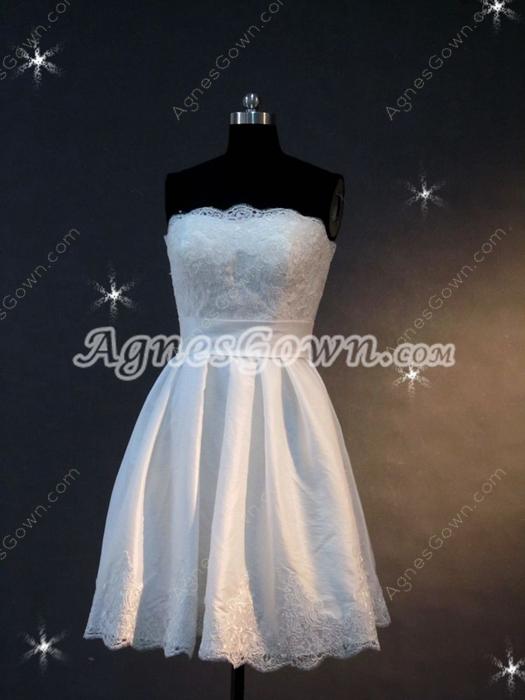 Stunning Strapless Short Beach Bridal Gowns