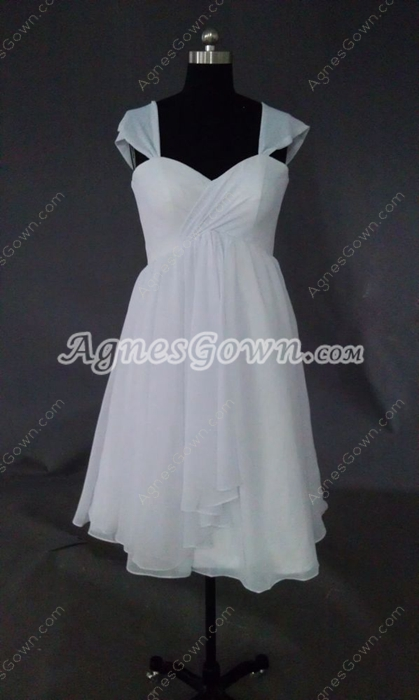 Simple White Chiffon Short Beach Wedding Dresses