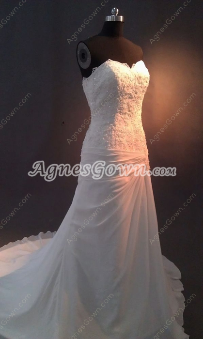 Graceful Sweetheart Chiffon A-line Full Length Wedding Dresses