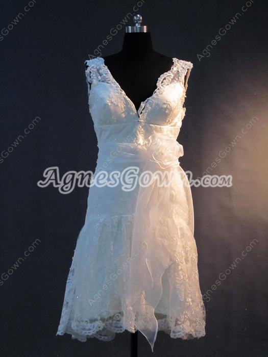 Cute Deep V-Neckline Beach Lace Short Wedding Dress