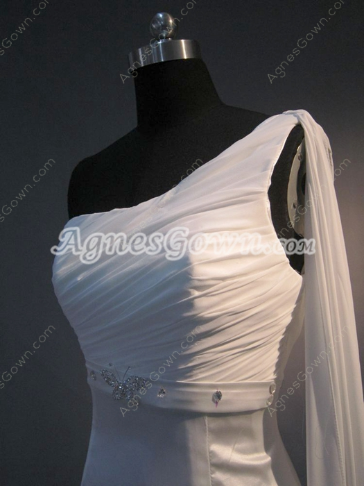 Elegance One Shoulder Sheath Beach Informal Wedding Dresses