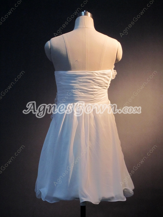Simple White Strapless Chiffon Dresses for Damas