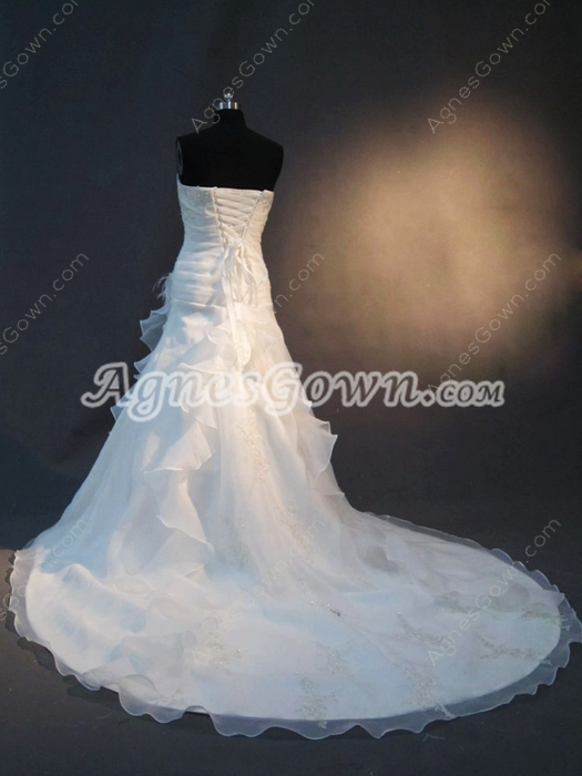 Charming A-line Strapless Bridal Dresses With Pleated Bodice