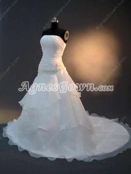 Graceful White A-line Long Simple Bridal Dresses