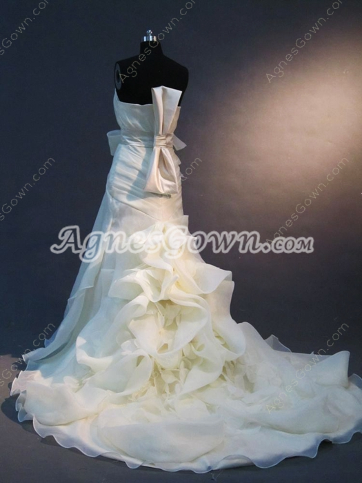 Perfect Strapless Organza Wedding Dresses With Ruffles