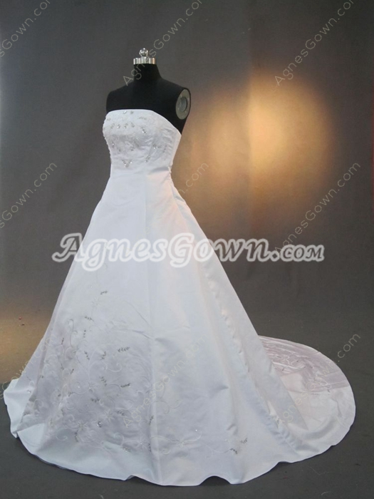 Affordable Satin Embroidery Wedding Dresses