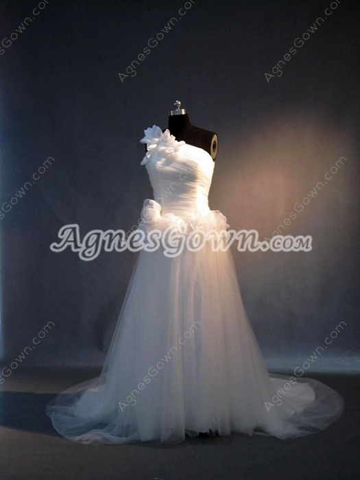 Perfect One Shoulder White Wedding Dresses With Detachable Train