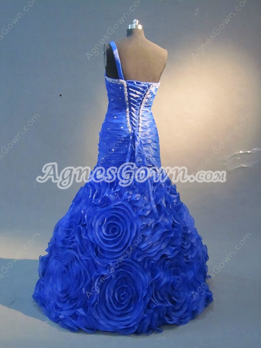 Elegant Royal Blue Puffy Unique Prom Dresses