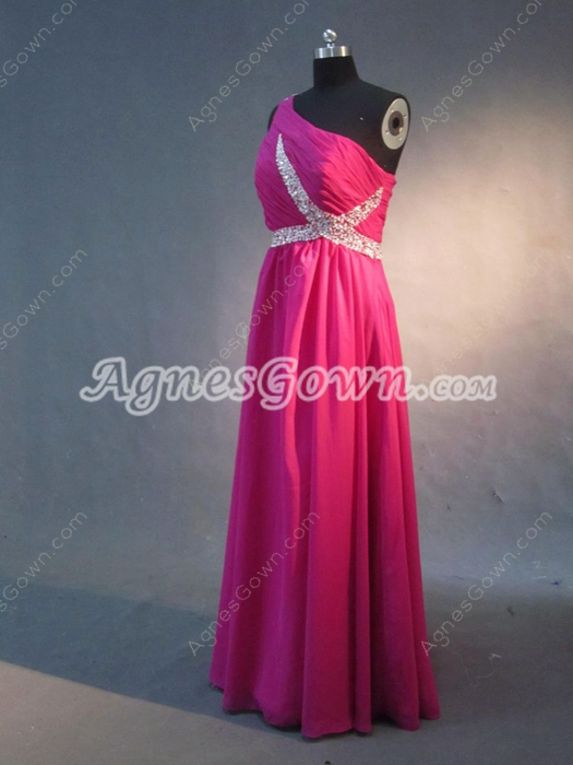 Fancy Fuchsia Chiffon One Shoulder Long Graduation Dresses