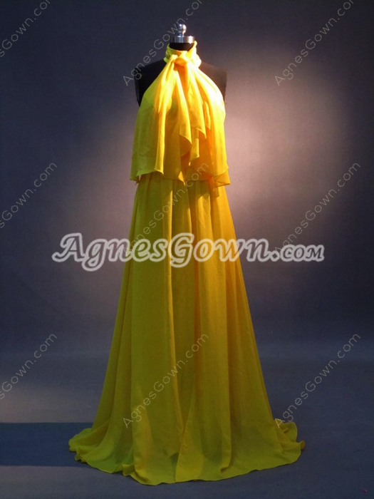 Charming Gold Chiffon Halter A-line Celebrity Dresses