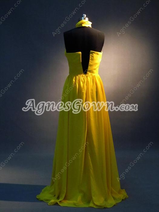 Charming Gold Chiffon Halter A-line Celebrity Dresses