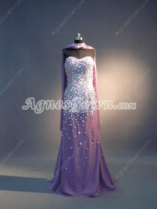 Luxury Lavender Chiffon Spring Celebrity Dresses With Rhinestones
