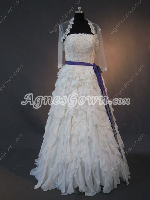 Gorgeous White Chiffon Strapless Wedding Dresses With Ruffles