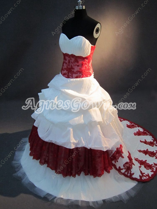 Gorgeous Burgundy Sweetheart Wedding Dresses With Red Lace