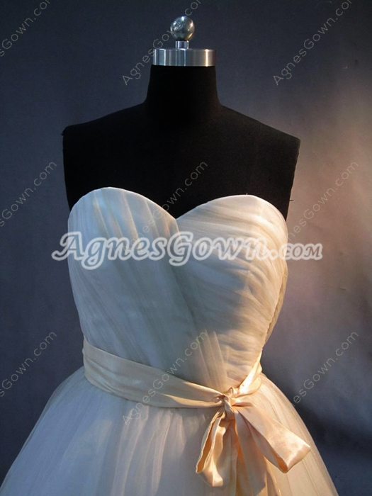 Simple Colorful Mature Wedding Dresses With Sash