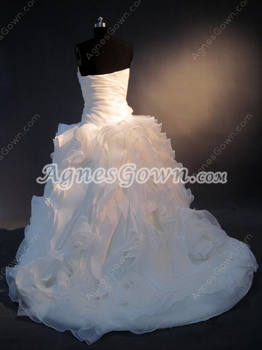 Strapless Sweetheart Princess Floral Ball Gown Wedding Dresses