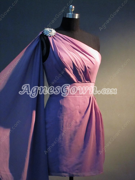 Cute Lilac One Shoulder Chiffon Cocktail Dresses with Sash