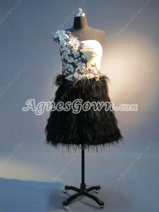 Stylish One Shoulder A-line Mini Homecoming Dresses With Feather