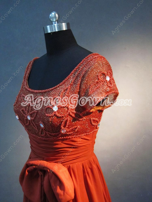 Vintage Square Neckline Mother Of The Bride Dresses With Short Sleeves
